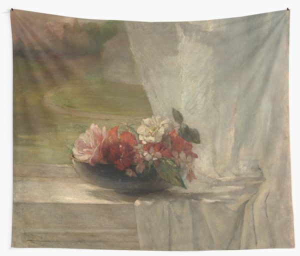 Flowers on a Window Ledge Oil Painting by John La Farge Wall Tapestries