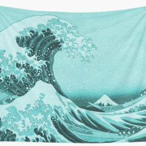 Aqua Blue Japanese Great Wave off Kanagawa by Hokusai Wall Tapestries
