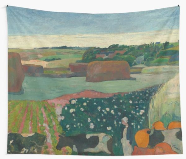 Haystacks in Brittany Oil Painting by Paul Gauguin Wall Tapestries