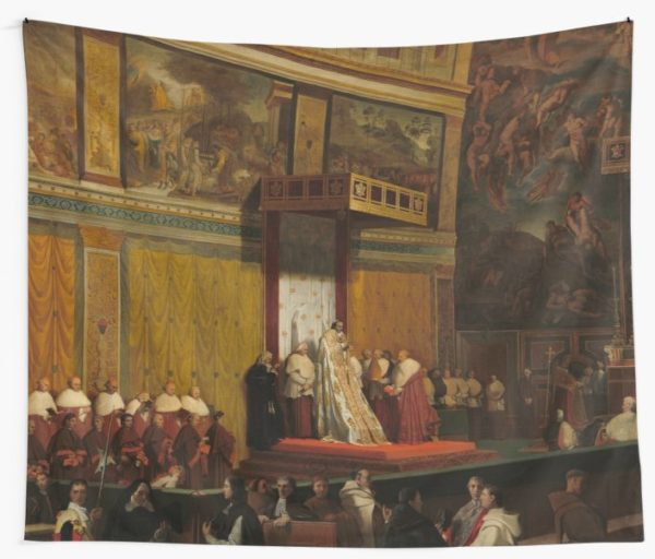 Pope Pius VII in the Sistine Chapel Oil Painting by Jean-Auguste-Dominique Ingres Wall Tapestries