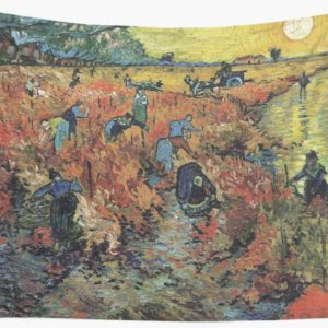 The Red Vineyards Oil Painting on Burlap by Vincent van Gogh Wall Tapestries