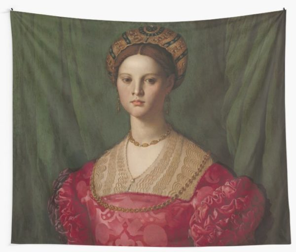 A Young Woman and Her Little Boy Oil Painting by Agnolo Bronzino Wall Tapestries