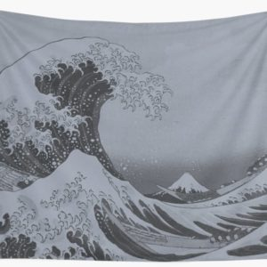 Silver Japanese Great Wave off Kanagawa by Hokusai Wall Tapestries