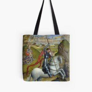 Saint George and the Dragon Oil Painting by Rogier van der Weyden Tote Bags