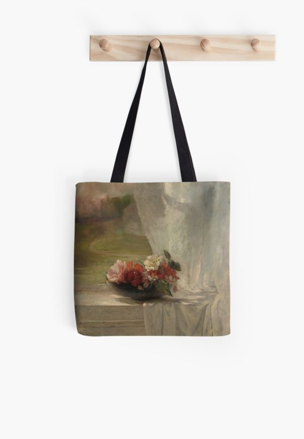 Flowers on a Window Ledge Oil Painting by John La Farge Tote Bags
