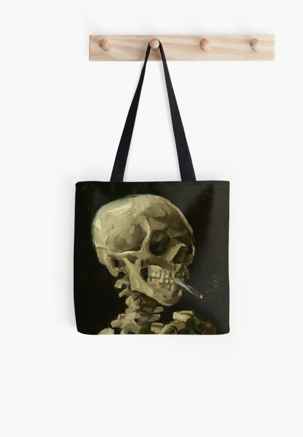 Skull of a Skeleton with Burning Cigarette by Vincent van Gogh Tote Bags