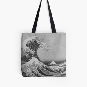 Black and White Japanese Great Wave off Kanagawa by Hokusai Tote Bags