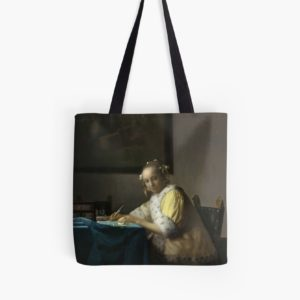 A Lady Writing Oil Painting by Johannes Vermeer Tote Bags