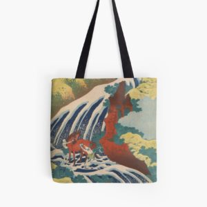 Yoshino Waterfalls Where Yoshitsune Washed his Horse by Katsushika Hokusai Tote Bags