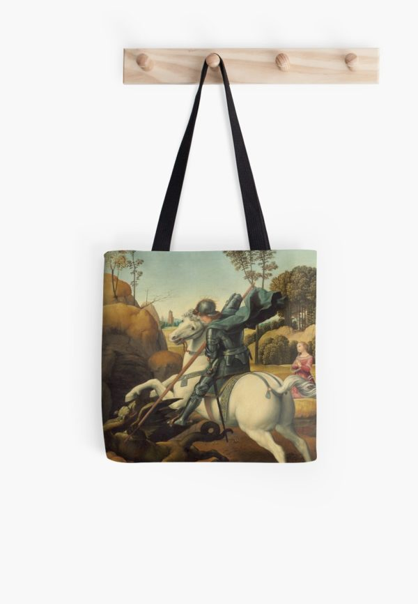 Saint George and the Dragon Oil Painting By Raphael Tote Bags