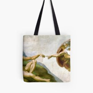 The Creation of Adam Painting by Michelangelo Sistine Chapel Tote Bags