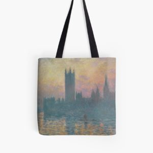The Houses of Parliament  Sunset by Claude Monet Tote Bags