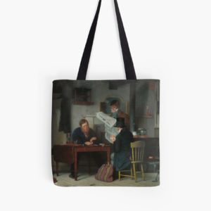 Waiting for the Stage Oil Painting by Richard Caton Woodville Tote Bags