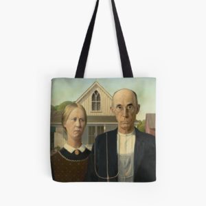 American Gothic Oil Painting by Grant Wood Tote Bags