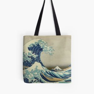 The Classic Japanese Great Wave off Kanagawa by Hokusai Tote Bags