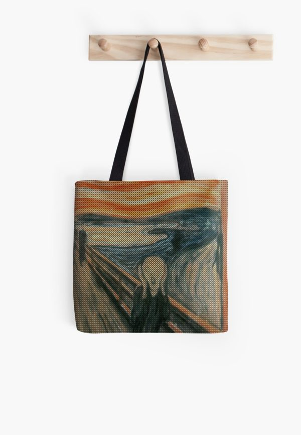 The Scream Lovingly Knitted by Granny E-Munch Tote Bags