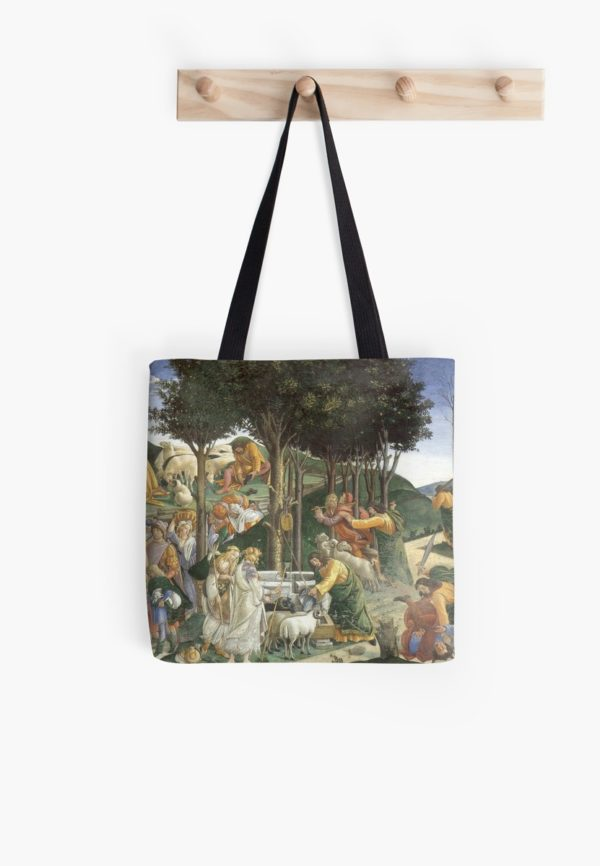 Trials of Moses Painting by Botticelli - Sistine Chapel Tote Bags