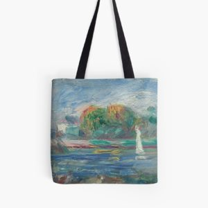 The Blue River Oil Painting by Auguste Renoir Tote Bags