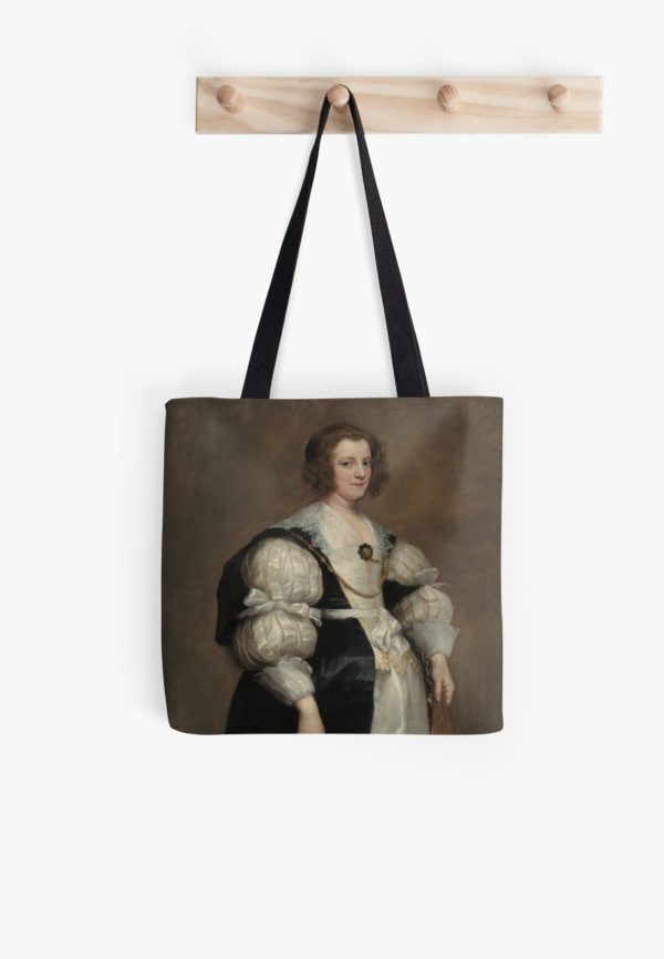 Lady with a Fan Oil Painting by Sir Anthony van Dyck Tote Bags