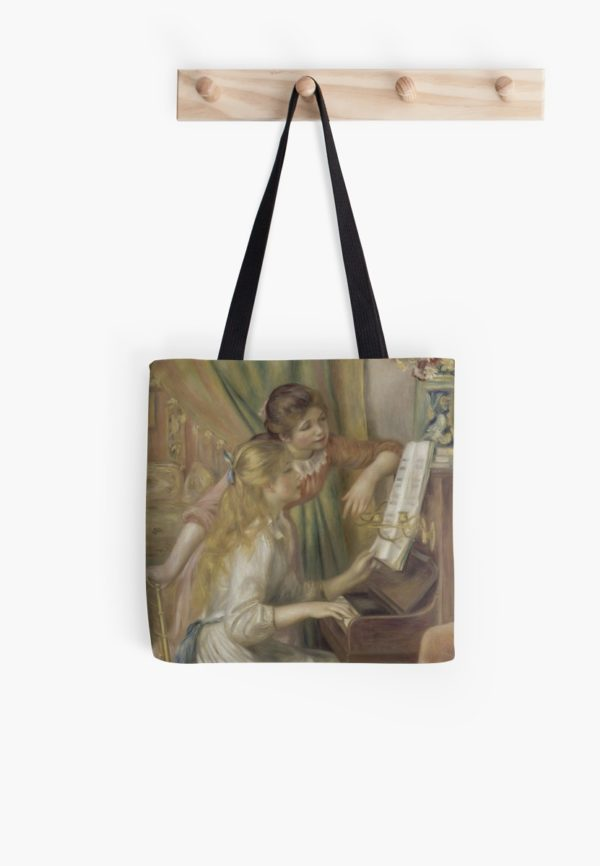Young Girls at the Piano Oil Painting by Pierre Auguste Renoir Tote Bags