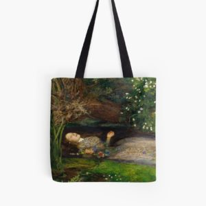 Ophelia Oil Painting by Sir John Everett Millais - Hamlet - Play Tote Bags