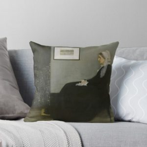 Whistlers Mother Oil Painting by James McNeill Whistler Throw Pillows