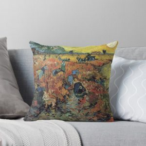 The Red Vineyards Oil Painting on Burlap by Vincent van Gogh Throw Pillows