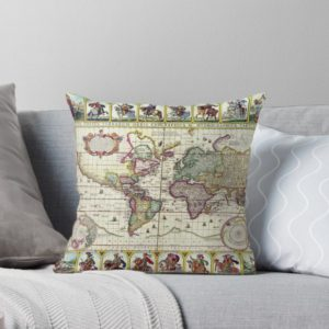 Vintage 1652 World Map by Claes Janszoon Visscher Throw Pillows
