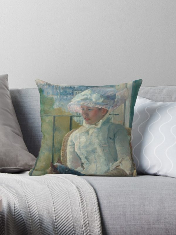 Young Girl at a Window Oil Painting by Mary Stevenson Cassatt Throw Pillows