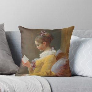 Young Girl Reading Painting by Jean-Honoré Fragonard Throw Pillows