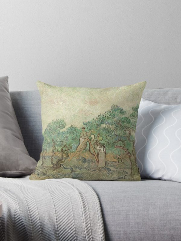 The Olive Orchard by Vincent van Gogh - Classic Art Throw Pillows