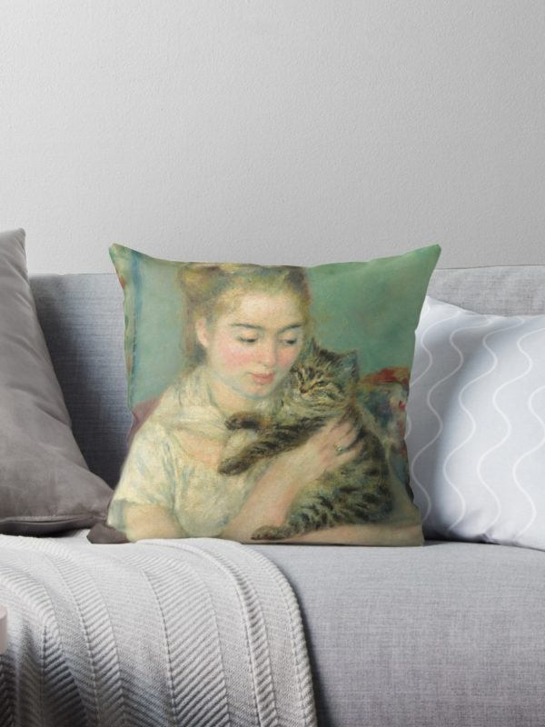 Woman with a Cat Oil Painting by Auguste Renoir Throw Pillows