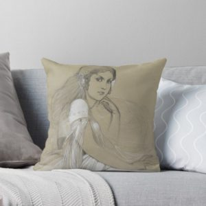 The artists daughter by Jaroslava Drawing Throw Pillows