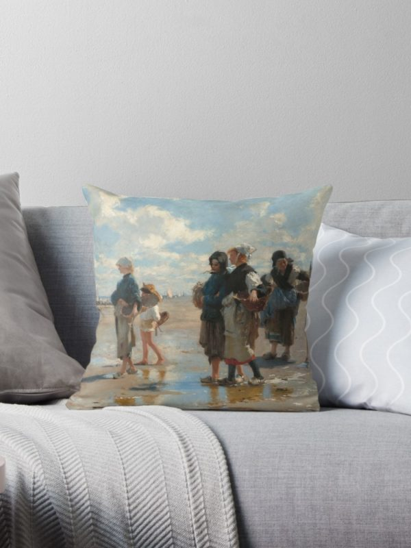 Setting Out to Fish Oil Painting by John Singer Sargent Throw Pillows