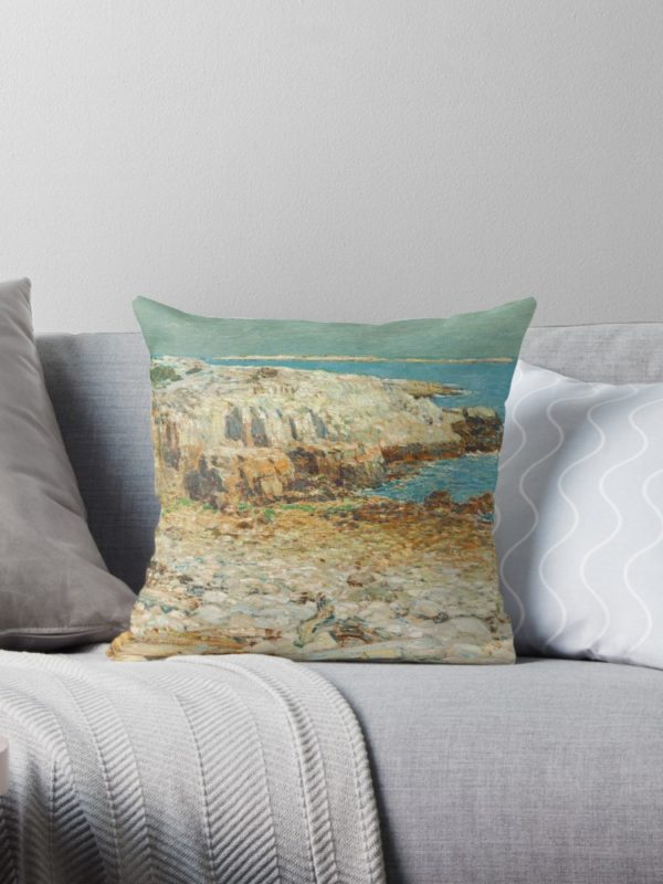 A North East Headland Oil Painting by Childe Hassam Throw Pillows