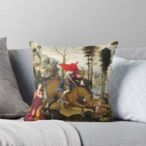 Saint George and the Dragon Oil Painting by Sodoma Throw Pillows