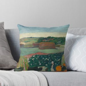 Haystacks in Brittany Oil Painting by Paul Gauguin Throw Pillows