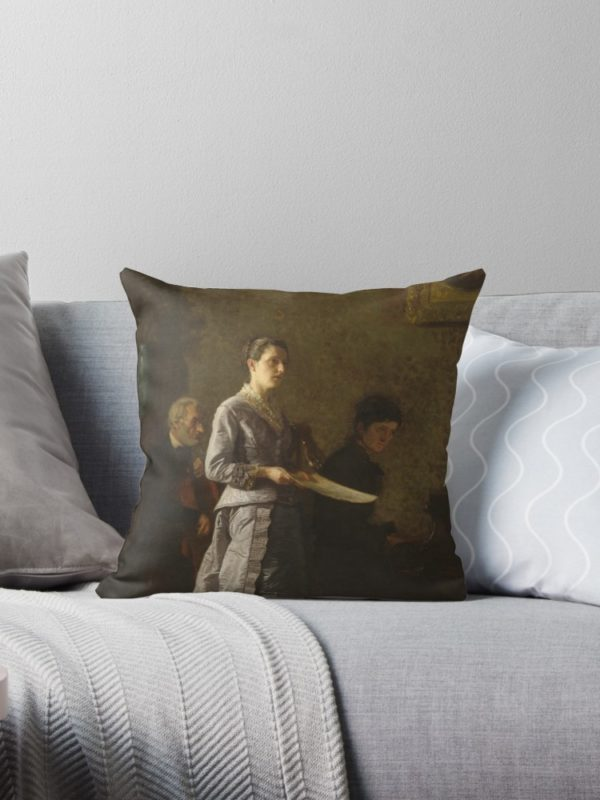 Singing a Pathetic Song Oil Painting by Thomas Eakins Throw Pillows