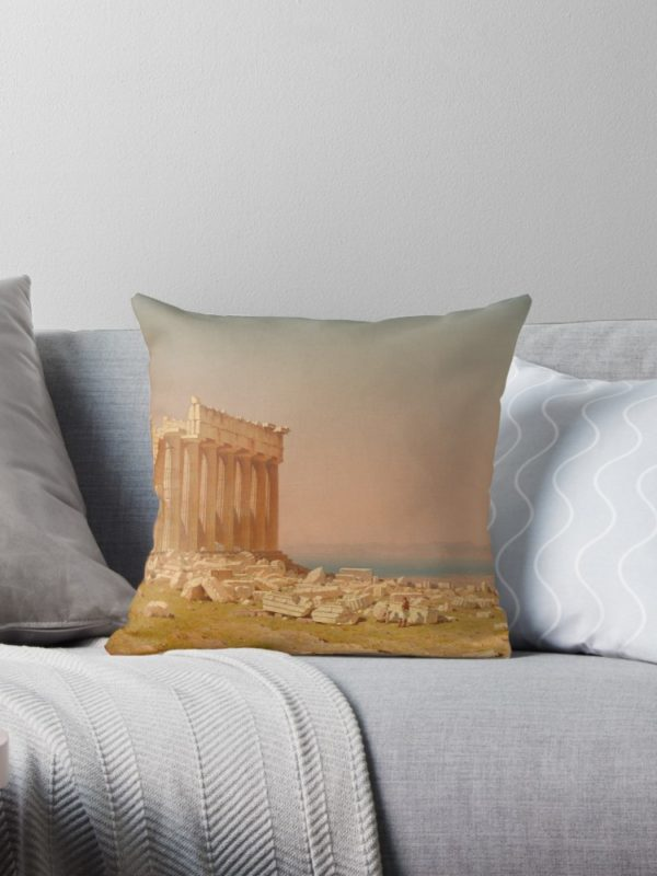 Ruins of the Parthenon Oil Painting by Sanford Robinson Gifford Throw Pillows