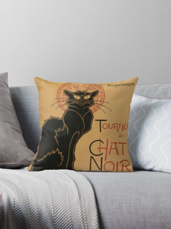 Le Chat Noir The Black Cat Poster by Théophile Steinlen Throw Pillows