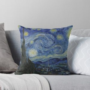 Starry Night Oil painting by Vincent van Gogh Throw Pillows