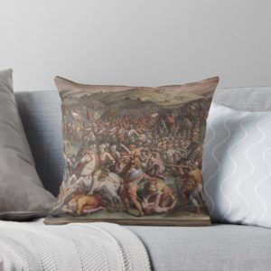 Classic Art The battle of Marciano in Val di Chiana By Giorgio Vasari Throw Pillows