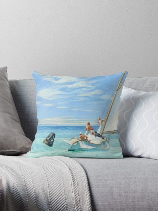 Ground Swell Oil Painting by Edward Hopper Throw Pillows