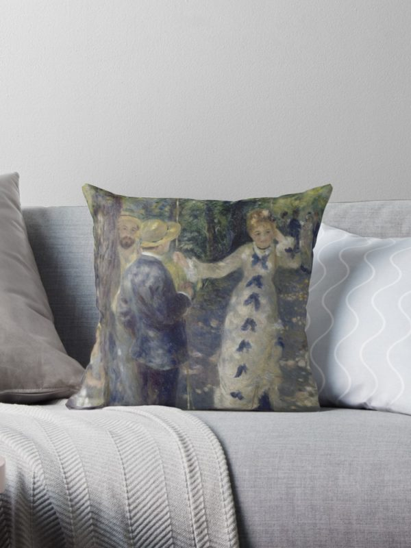 The Swing Oil Painting by Auguste Renoir Throw Pillows