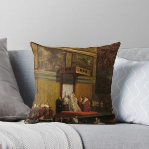 Pope Pius VII in the Sistine Chapel Oil Painting by Jean-Auguste-Dominique Ingres Throw Pillows