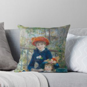 Two Sisters on the Terrace Oil Painting by Auguste Renoir Throw Pillows