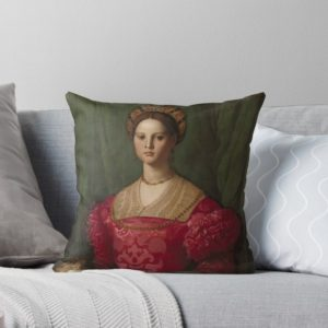 A Young Woman and Her Little Boy Oil Painting by Agnolo Bronzino Throw Pillows