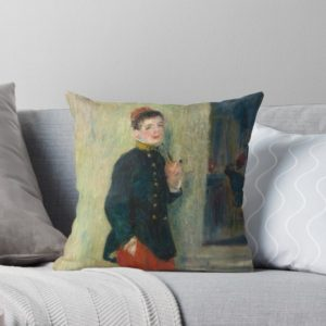 The Young Soldier oil Painting by Auguste Renoir Throw Pillows