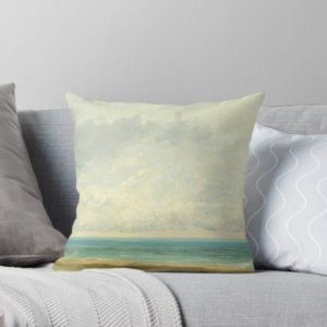 Calm Sea Oil Painting by Gustave Courbet Throw Pillows