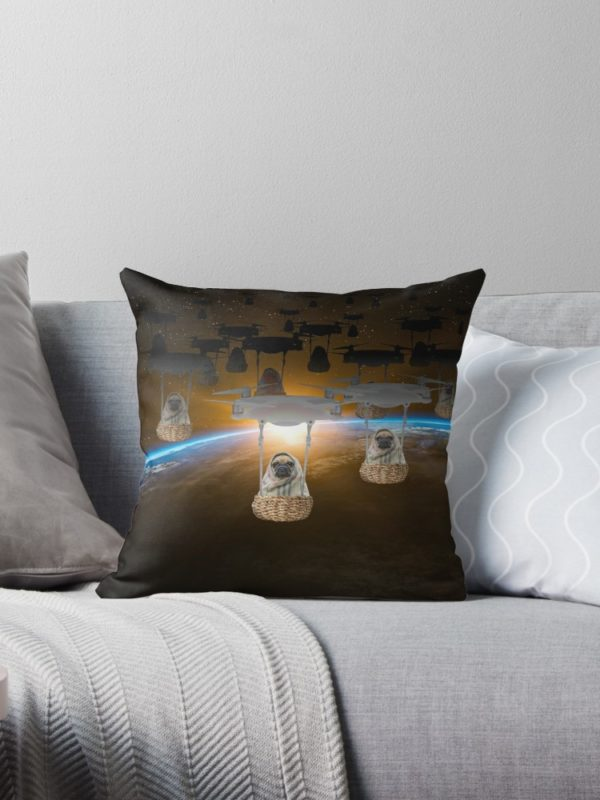 Pugvasion Alien Invasion by Drone Throw Pillows